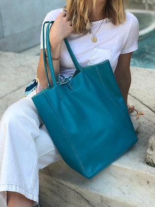 Turquoise Leather Tote Bag - Jijou Capri