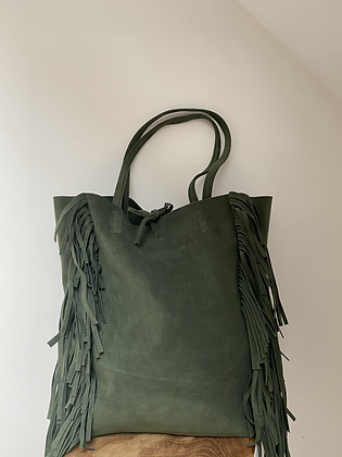 Forest Green Fringes Suede Leather Tote Bag - Jijou Capri