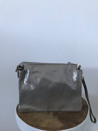 Elvira Glossy Taupe Leather Crossbody bag - Jijou Capri