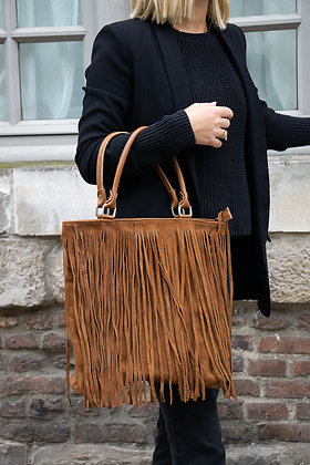 Camel Jungle Suede leather handbag - Jijou Capri