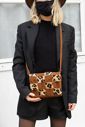 Damier Suede Printed Leather Crossbody Bag