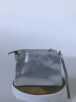 Elvira Glossy Silver Leather Crossbody bag - Jijou Capri