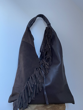Gisele chocolate boho Fringes Leather Tote bag - Jijou Capri