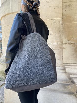 Anthracite Maxi Vivo Lana Leather Tote Bag - Jijou Capri