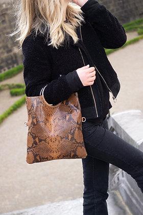 Twiggy Brown Snake Leather Handbag - Jijou Capri