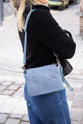 Elvira Grained Blue Leather Crossbody bag - Jijou Capri