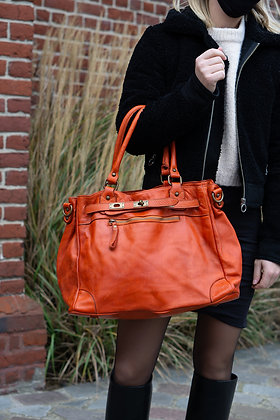 Classic Orange Sophia Vintage Leather Handbag - Jijou Capri