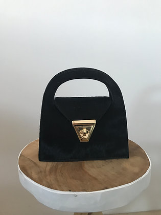 Black June Pony Leather Crossbody Bag - Jijou Capri
