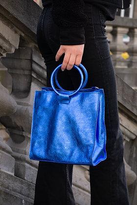 Blue Electrico Momi Metallic Leather Handbag - Jijou Capri
