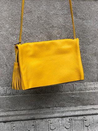 Sauvage Leather Crossbody Bag Yellow - Jijou Capri