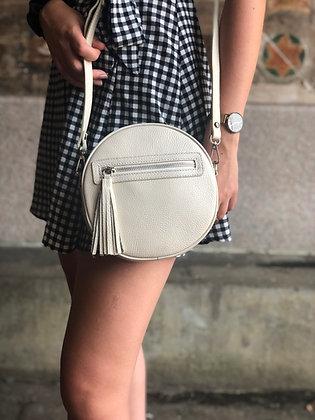 Circle Beige Leather Crossbody Bag - Jijou Capri