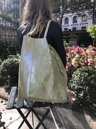 Olive Glitter Leather Tote Bag - Jijou Capri