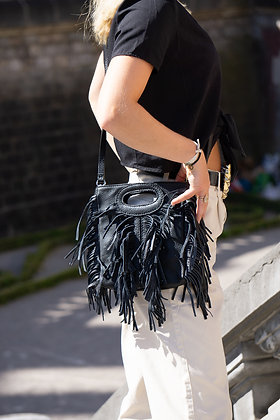 Mini Seville Black Leather Crossbody Bag - Jijou Capri