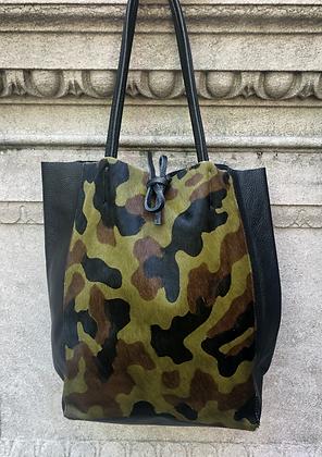 Leather Half Pony Camo Tote Bag - Jijou Capri