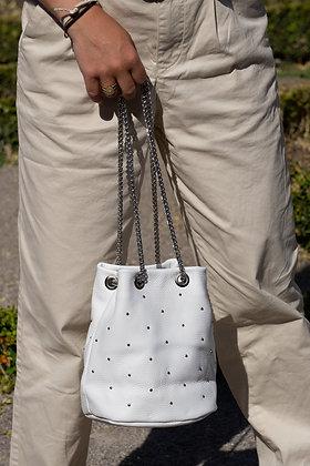White Liliana Bucket Studs Crossbody Bag - Jijou Capri