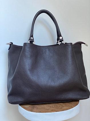 Chocolate Margaret Leather Handbag - Jijou Capri