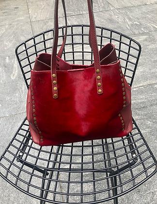 Red Luxy Pony Hair Bag - Jijou Capri