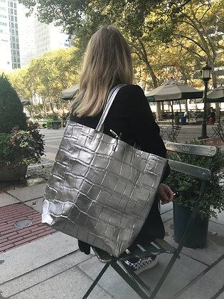 Silver Metallic Croco Embossed Tote Bag - Jijou Capri
