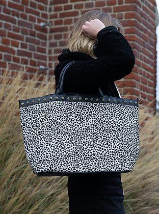 Black Mini Cheetah Minos Pony Leather Handbag - Jijou Capri