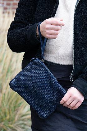 Navy Ziplet Vintage Leather Wallet - Jijou Capri