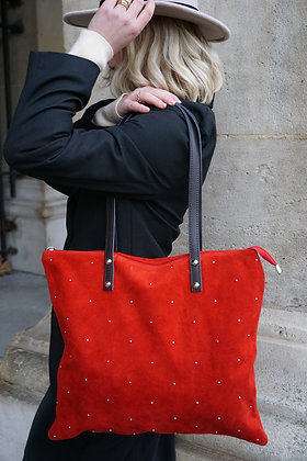 Red Oria Studs Leather Tote Bag - Jijou Capri