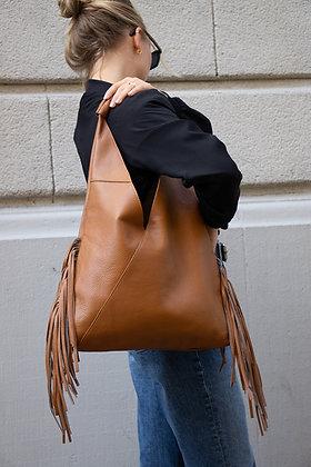 Gisele Camel Fringes Leather Tote bag - Jijou Capri