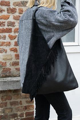 Gisele black boho Fringes Leather Tote bag - Jijou Capri