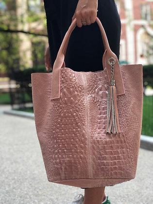 Blush Sacca Suede Croco Handbag - Jijou Capri
