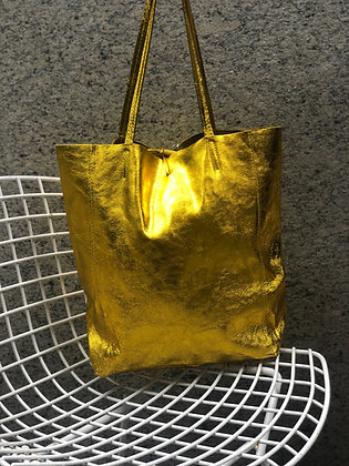Metallic Yellow Leather Tote - Jijou Capri