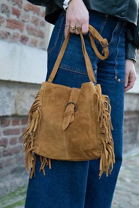 Jill Camel Suede Leather Crossbody Bag - Jijou Capri