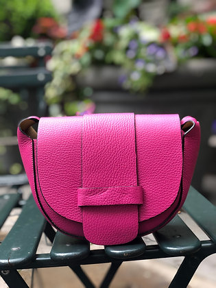 Fuchsia Vivi Grained Crossbody Bag - Jijou Capri