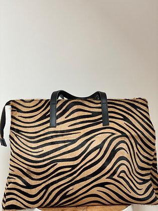 Maxi Zebra Mercury Pony leather handbag- Jijou Capri