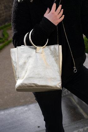 Gold Momi Metallic Leather Handbag - Jijou Capri