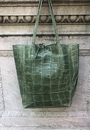 Olive Croco Embossed Tote Bag - Jijou Capri