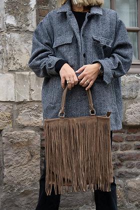 Taupe Jungle Suede leather handbag - Jijou Capri