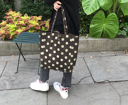 Big Golden Dots Chocolate Tote Bag- Jijou Capri