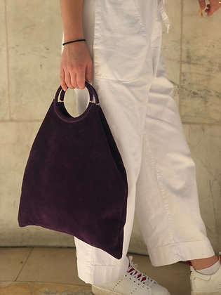 Montreal Medio Suede Leather Tote Bag Purple 11 - Jijou Capri