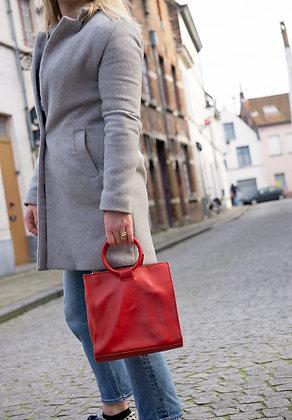 Red Momi Leather Handbag - Jijou Capri