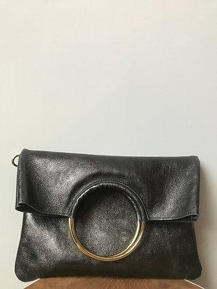 Twiggy Anthracite Metallic Leather Handbag - Jijou Capri
