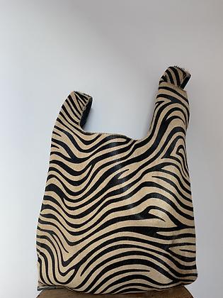Brown Zebra Tokyo Half Pony leather handbag- Jijou Capri