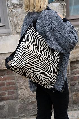 Black Zebra Zaino Futura Pony leather handbag- Jijou Capri