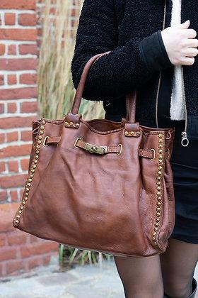 Camel Sophia Studs Vintage Leather Handbag - Jijou Capri
