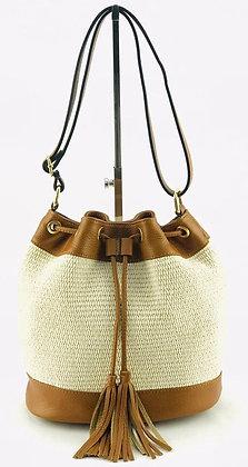 Tolosa Leather Raffia Bucket Bag