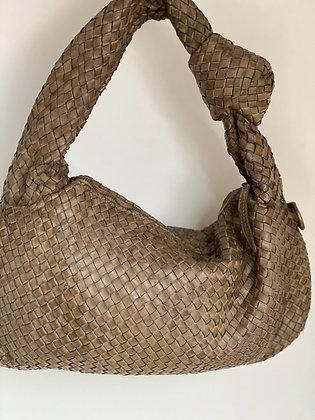 Taupe Cathy Woven vintage Leather Handbag - Jijou Capri
