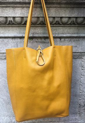 Mustard Leather Tote Bag - Jijou Capri