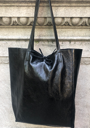 Metallic Black Leather Tote - Jijou Capri