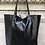 Thumbnail: Metallic Black Leather Tote - Jijou Capri
