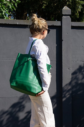 Green Grained Leather Tote Bag - Jijou Capri