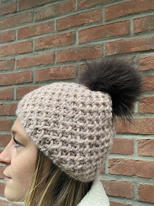 Beanie Chunky knits JJ90 Blush  - Jijou Capri