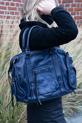 Blue Hana Vintage Leather Handbag - Jijou Capri